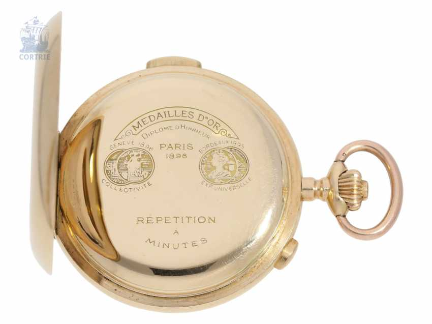 Pocket watch: heavy gold savonnette minute repeater and Chronograph, Switzerland CA. 1900 - photo 5