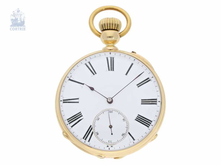 Pocket watch: very interesting and high fine Pocket chronometer with chain/auger and very rare a lift mechanism, Switzerland around 1860 - photo 1