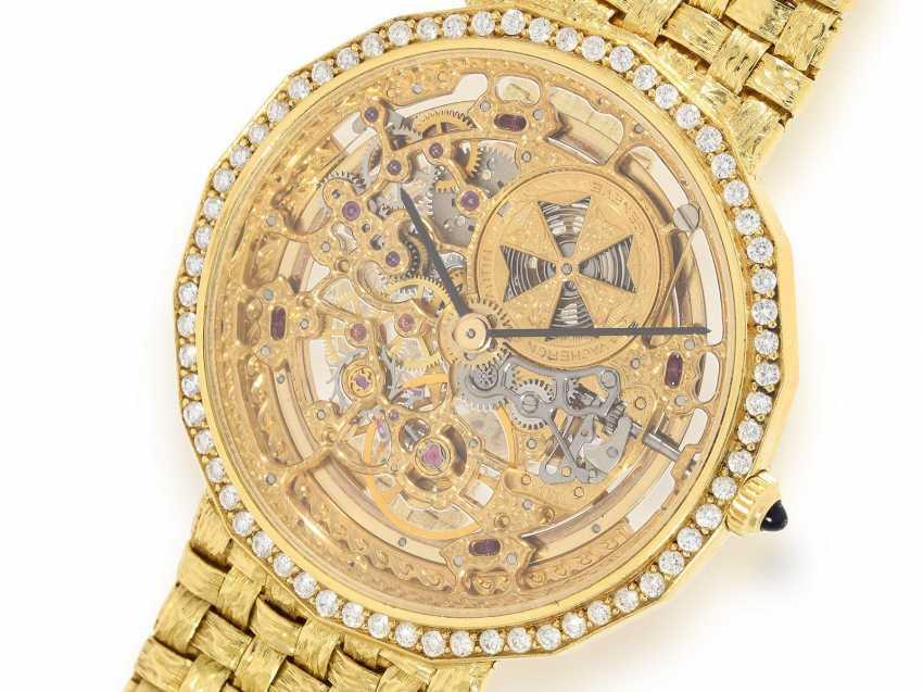 "Watch: extremely rare Vacheron & Constantin ""Skeleton"" with original diamonds, original gold band, original papers & original sheath , Ref.43502 Automatic, 1985 - photo 1"