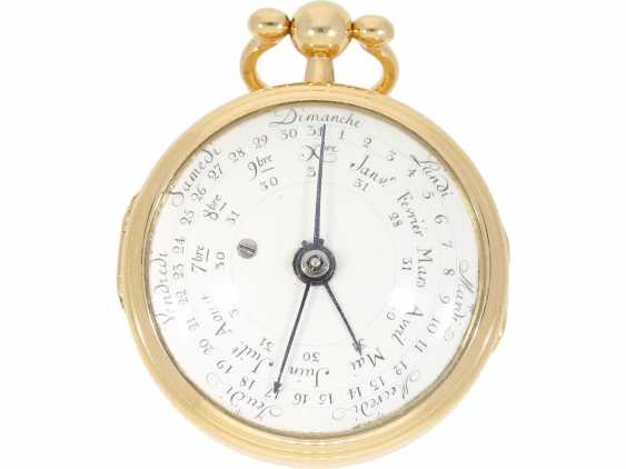 Pocket watch: very rare, Golden astronomical Spindeluhr with double-sided dial and full calendar with the 3 Central hands, attributed to L'epine, Horloger du Roy a Paris, CA. 1780 - photo 2