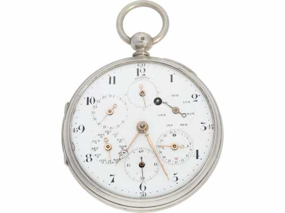 """Pocket watch: technical rarity, one of the earliest known astronomical pocket watch with a genuine perpetual calendar """"Quantième Bisextile"""", France, around 1800 - photo 1"""