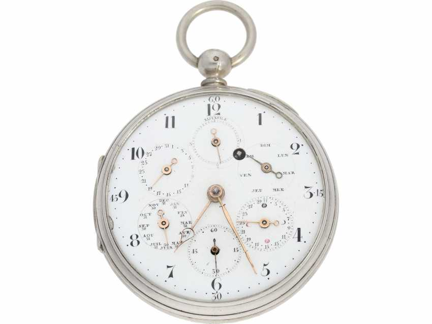 "Pocket watch: technical rarity, one of the earliest known astronomical pocket watch with a genuine perpetual calendar ""Quantième Bisextile"", France, around 1800 - photo 1"