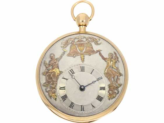 "Pocket watch: very fine, large rose-gold-plated figure, automaton Jacquemart with decentralized dial and figures in the exception of quality ""à quatre couleurs"", Ferdinand Le Gras, Paris No. 2757, CA. 1820 - photo 1"