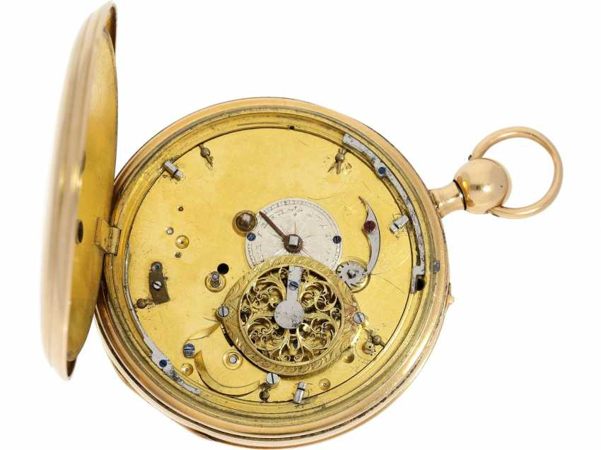 "Pocket watch: very fine, large rose-gold-plated figure, automaton Jacquemart with decentralized dial and figures in the exception of quality ""à quatre couleurs"", Ferdinand Le Gras, Paris No. 2757, CA. 1820 - photo 2"