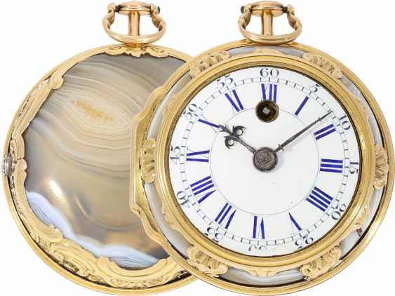 Pocket watch: fine English pocket watch with Gold/agate-housing in the style of Louis XV, signed by Tupman, London, No. 1966, CA. 1800 - photo 1