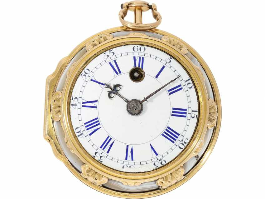 Pocket watch: fine English pocket watch with Gold/agate-housing in the style of Louis XV, signed by Tupman, London, No. 1966, CA. 1800 - photo 4