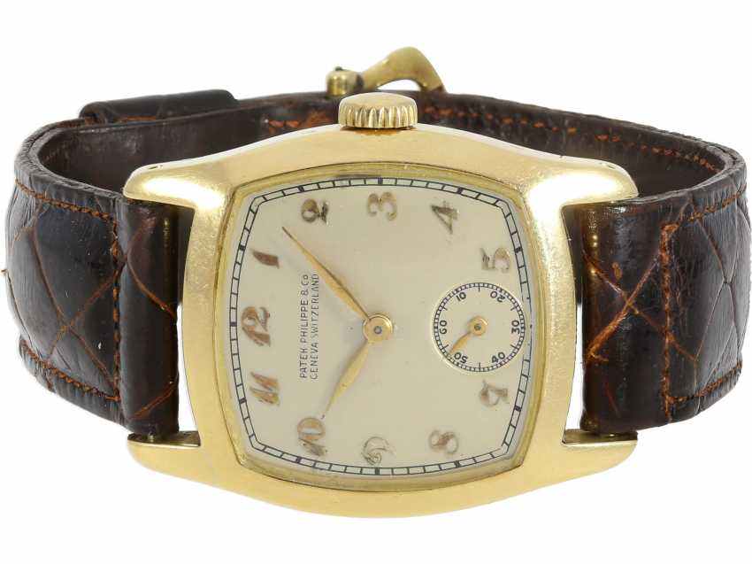 "Watch: Patek Philippe, rare, extremely rare, large and early, early, early Patek Philippe ""TORTUE"" with Art Deco Breguet dial, approx 1920 - photo 1"