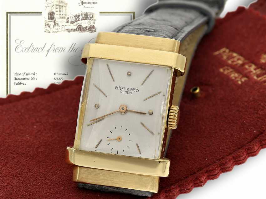 "Watch: very rare Patek Philippe men's watch from the year 1944, searched reference 1450, also called ""TOP hat"", with the master excerpt from the book, and PP case - photo 1"