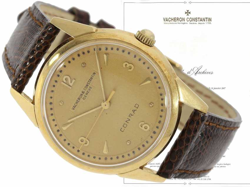 "Watch: extremely rare Vacheron & Constantin men's watch reference 6113 with a Central second, a ""Guilloche-Dial"" and double-signature, No. 348302 of 1956, with the master excerpt from the book - photo 1"