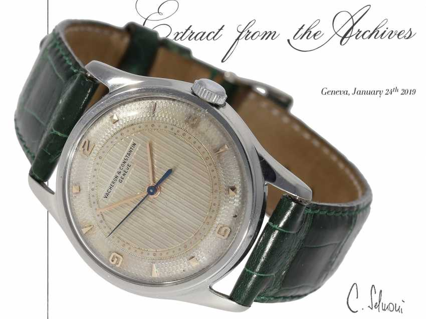 "Watch: extremely rare, early Vacheron & Constantin men's watch steel, Ref. 4310 ""GUILLOCHÉ DIAL"", Geneva in 1953, with the master excerpt from the book - photo 1"