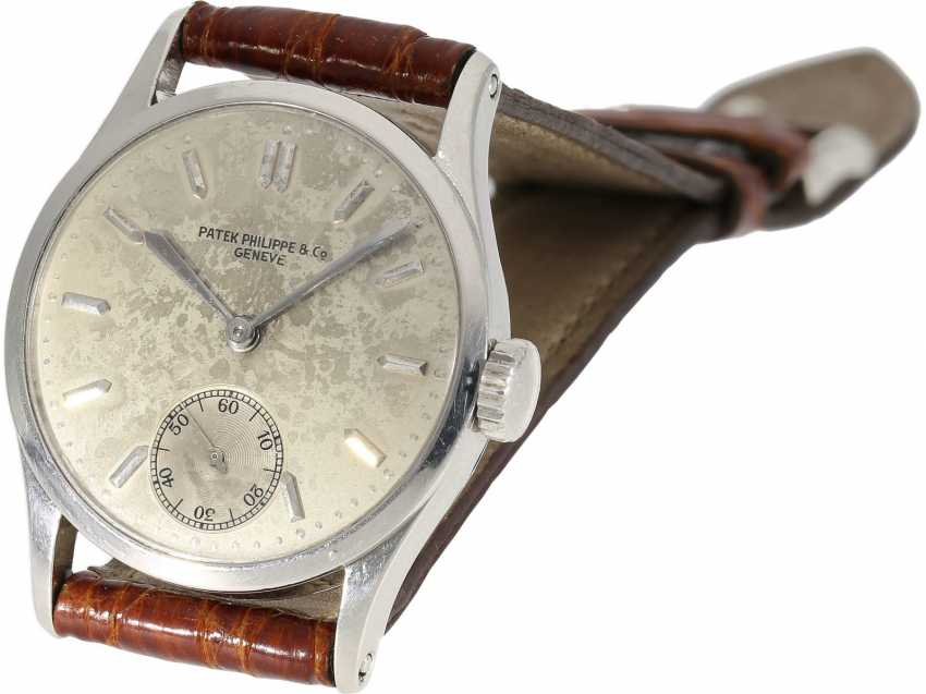 Watch: significant Patek Philippe watch, the 1. Series of the famous Calatrava Ref. 96 as a special model platinum-platinum-Complete-equipment, 2-dials, and verm. orig. Box, Patek Philippe Stem Book Excerpt, Geneva, 1938 - photo 5