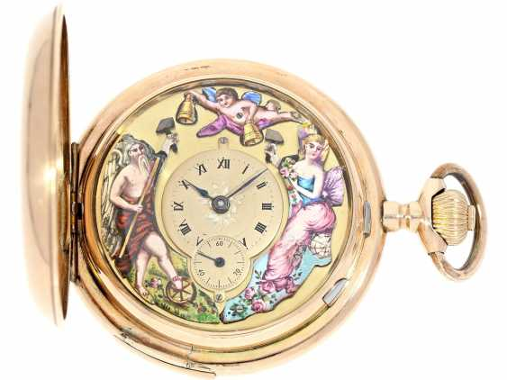 "Pocket watch: exceptionally large, Golden-red dash factory clock with enamelled figure automaton Jacquemart ""Chronos the hours,"" probably Maurice Ditisheim No. 1434 hits, CA. 1910 - photo 1"