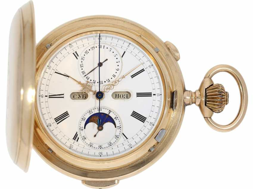 """Pocket watch: is particularly heavy, astronomical gold savonnette with 6 complications, including minute repetition, Le Phare """"Tempora"""", made for the Russian market, around 1900 - photo 1"""