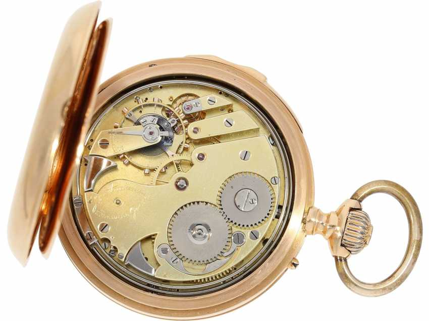 Pocket watch: very fine red-gold Savonnette minute repeater, Louis Audemars, No. 21490, CA. 1895 - photo 4