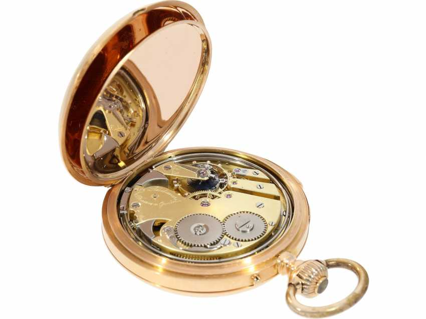 Pocket watch: very fine red-gold Savonnette minute repeater, Louis Audemars, No. 21490, CA. 1895 - photo 5