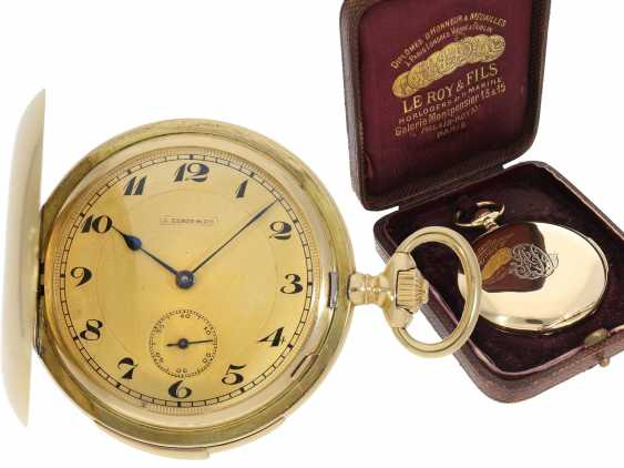 Pocket watch: heavy, ultra-fine gold savonnette with 3-Hammer Carillon minute repetition, Le Roy & Cie./Louis Audemars, No. 10663, with verm. Original box, CA. 1910 - photo 1
