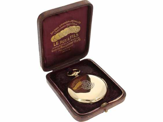 Pocket watch: heavy, ultra-fine gold savonnette with 3-Hammer Carillon minute repetition, Le Roy & Cie./Louis Audemars, No. 10663, with verm. Original box, CA. 1910 - photo 2