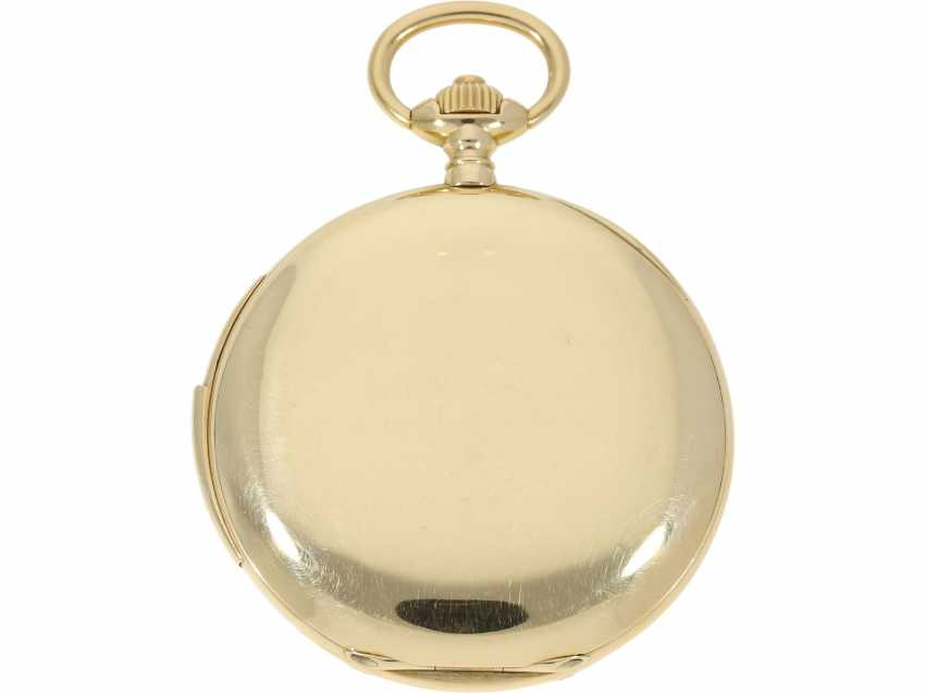 Pocket watch: heavy, ultra-fine gold savonnette with 3-Hammer Carillon minute repetition, Le Roy & Cie./Louis Audemars, No. 10663, with verm. Original box, CA. 1910 - photo 4