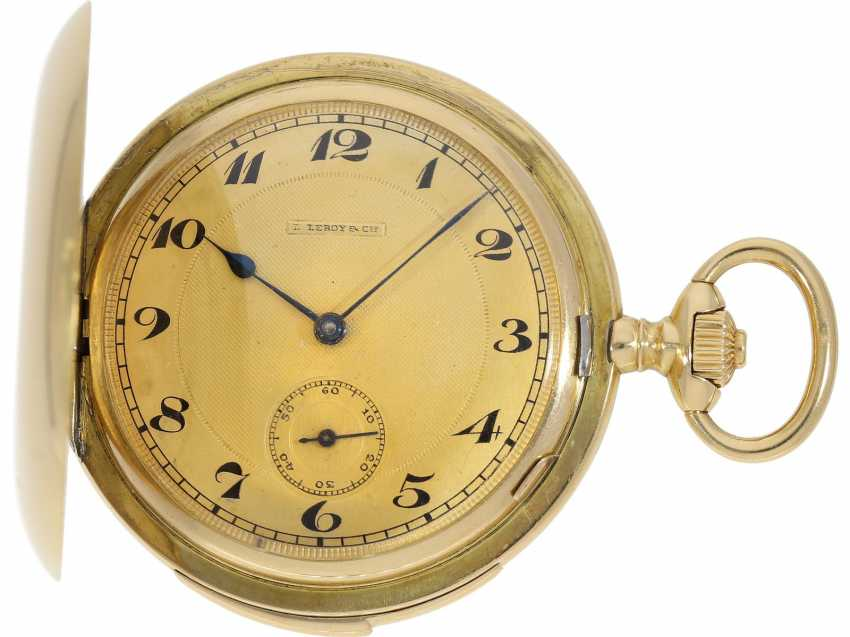 Pocket watch: heavy, ultra-fine gold savonnette with 3-Hammer Carillon minute repetition, Le Roy & Cie./Louis Audemars, No. 10663, with verm. Original box, CA. 1910 - photo 5
