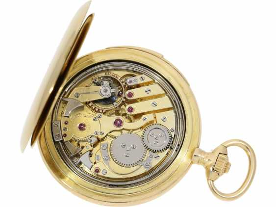 Pocket watch: heavy, ultra-fine gold savonnette with 3-Hammer Carillon minute repetition, Le Roy & Cie./Louis Audemars, No. 10663, with verm. Original box, CA. 1910 - photo 6
