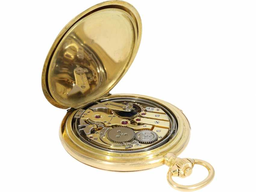 Pocket watch: heavy, ultra-fine gold savonnette with 3-Hammer Carillon minute repetition, Le Roy & Cie./Louis Audemars, No. 10663, with verm. Original box, CA. 1910 - photo 7