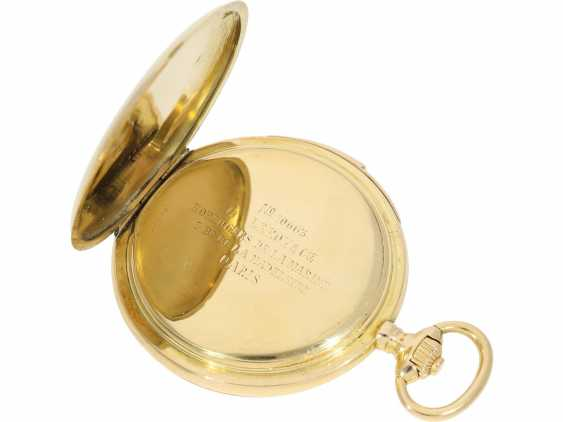 Pocket watch: heavy, ultra-fine gold savonnette with 3-Hammer Carillon minute repetition, Le Roy & Cie./Louis Audemars, No. 10663, with verm. Original box, CA. 1910 - photo 8