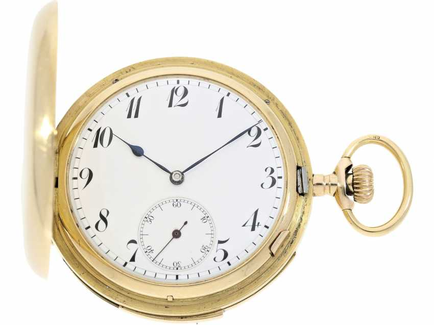 "Pocket watch: particularly heavy English gold savonnette with an extremely rare percussion, ""Carillon"" with 4-Hammer minute repeater, Constant Piguet/ Barbezat Bole le Locle, CA. 1910 - photo 1"