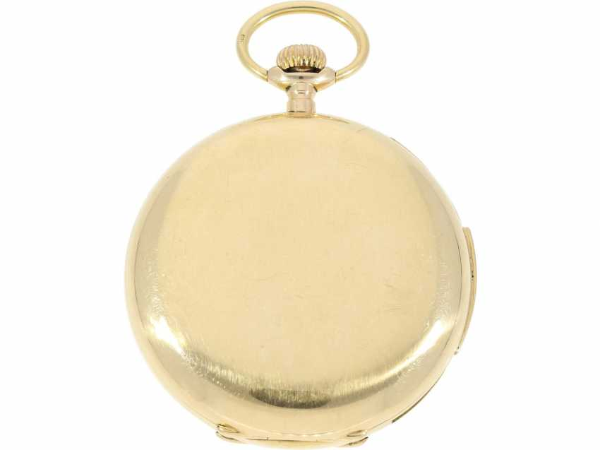 "Pocket watch: particularly heavy English gold savonnette with an extremely rare percussion, ""Carillon"" with 4-Hammer minute repeater, Constant Piguet/ Barbezat Bole le Locle, CA. 1910 - photo 4"