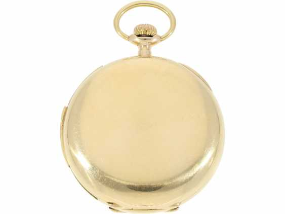"Pocket watch: particularly heavy English gold savonnette with an extremely rare percussion, ""Carillon"" with 4-Hammer minute repeater, Constant Piguet/ Barbezat Bole le Locle, CA. 1910 - photo 5"