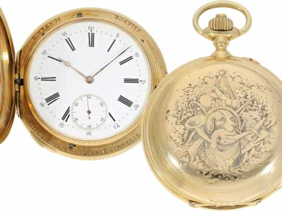 Pocket watch: historically interesting, heavy gold savonnette with the Grande & Petit Sonnerie and Repetition, attributed to Henri Grandjean & Cie. (Le Locle), calibre Audemars No. 17880, a former possession of the counts of Platen-hall mouth (187 - photo 1