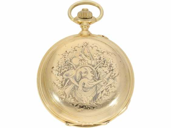 Pocket watch: historically interesting, heavy gold savonnette with the Grande & Petit Sonnerie and Repetition, attributed to Henri Grandjean & Cie. (Le Locle), calibre Audemars No. 17880, a former possession of the counts of Platen-hall mouth (187 - photo 2