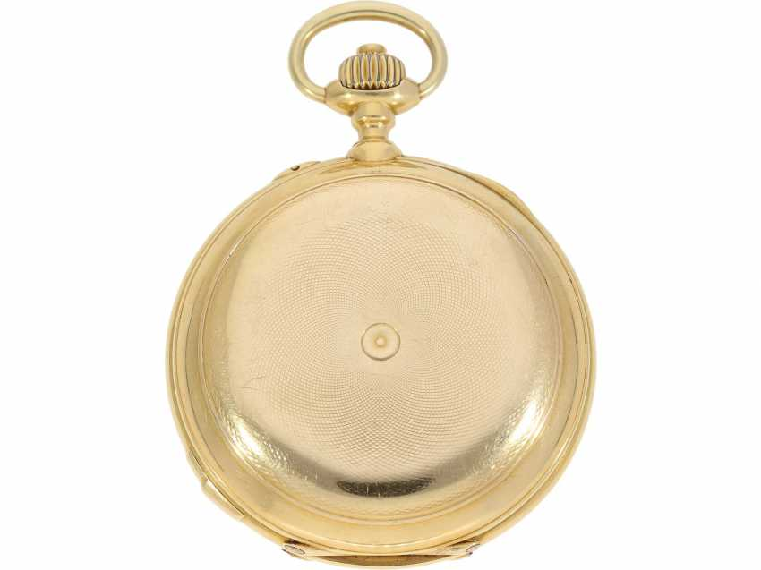 Pocket watch: historically interesting, heavy gold savonnette with the Grande & Petit Sonnerie and Repetition, attributed to Henri Grandjean & Cie. (Le Locle), calibre Audemars No. 17880, a former possession of the counts of Platen-hall mouth (187 - photo 3