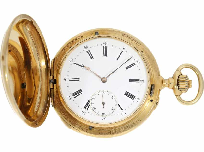 Pocket watch: historically interesting, heavy gold savonnette with the Grande & Petit Sonnerie and Repetition, attributed to Henri Grandjean & Cie. (Le Locle), calibre Audemars No. 17880, a former possession of the counts of Platen-hall mouth (187 - photo 4