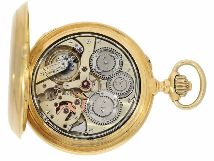 Pocket watch: historically interesting, heavy gold savonnette with the Grande & Petit Sonnerie and Repetition, attributed to Henri Grandjean & Cie. (Le Locle), calibre Audemars No. 17880, a former possession of the counts of Platen-hall mouth (187 - photo 5