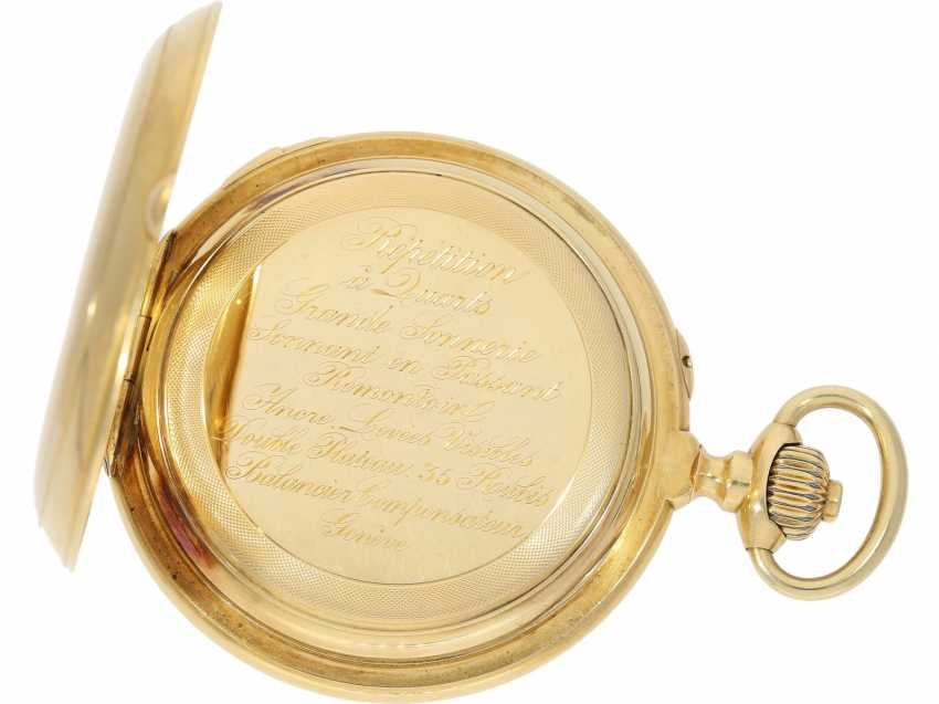 Pocket watch: historically interesting, heavy gold savonnette with the Grande & Petit Sonnerie and Repetition, attributed to Henri Grandjean & Cie. (Le Locle), calibre Audemars No. 17880, a former possession of the counts of Platen-hall mouth (187 - photo 6