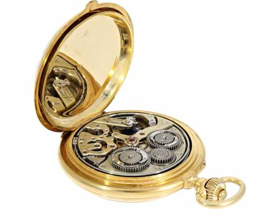 Pocket watch: historically interesting, heavy gold savonnette with the Grande & Petit Sonnerie and Repetition, attributed to Henri Grandjean & Cie. (Le Locle), calibre Audemars No. 17880, a former possession of the counts of Platen-hall mouth (187 - photo 8