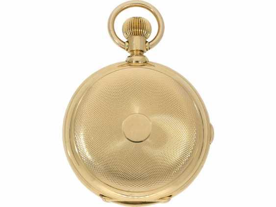 Taschenuhr: bedeutende, schwere, hochkomplizierte Goldsavonnette mit Grande Sonnerie Carillon und Minutenrepetition Carillon nach Patent.7832, Schwob Frères, La Chaux-De-Fonds/ Louis Brandt & Brother, No. 43773, ac 1895 - photo 2