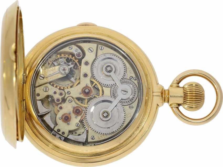 Taschenuhr: bedeutende, schwere, hochkomplizierte Goldsavonnette mit Grande Sonnerie Carillon und Minutenrepetition Carillon nach Patent.7832, Schwob Frères, La Chaux-De-Fonds/ Louis Brandt & Brother, No. 43773, ac 1895 - photo 4