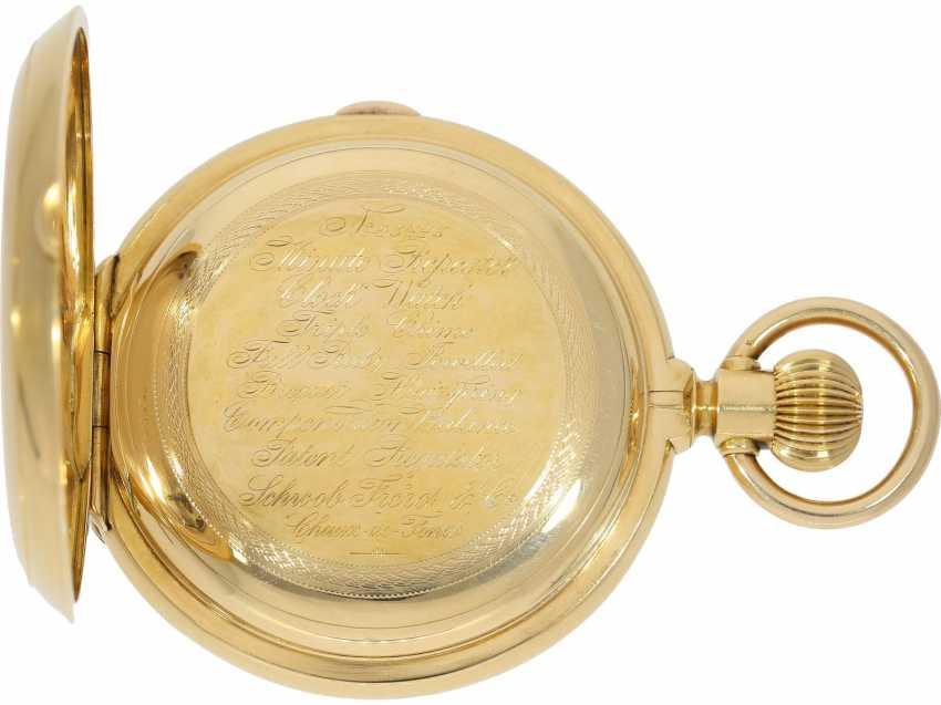 Taschenuhr: bedeutende, schwere, hochkomplizierte Goldsavonnette mit Grande Sonnerie Carillon und Minutenrepetition Carillon nach Patent.7832, Schwob Frères, La Chaux-De-Fonds/ Louis Brandt & Brother, No. 43773, ac 1895 - photo 5