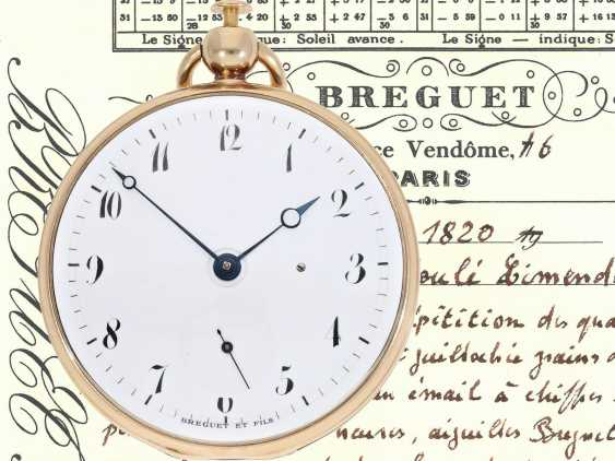 Pocket watch: very fine Breguet repeater watch with a very rare caliber, exceptional rose gold watch case and a secret signature, No. 3457, sold at 23. In March 1820 he wrote to Monsieur Jouli Limendeux, with Breguet certificate - photo 1