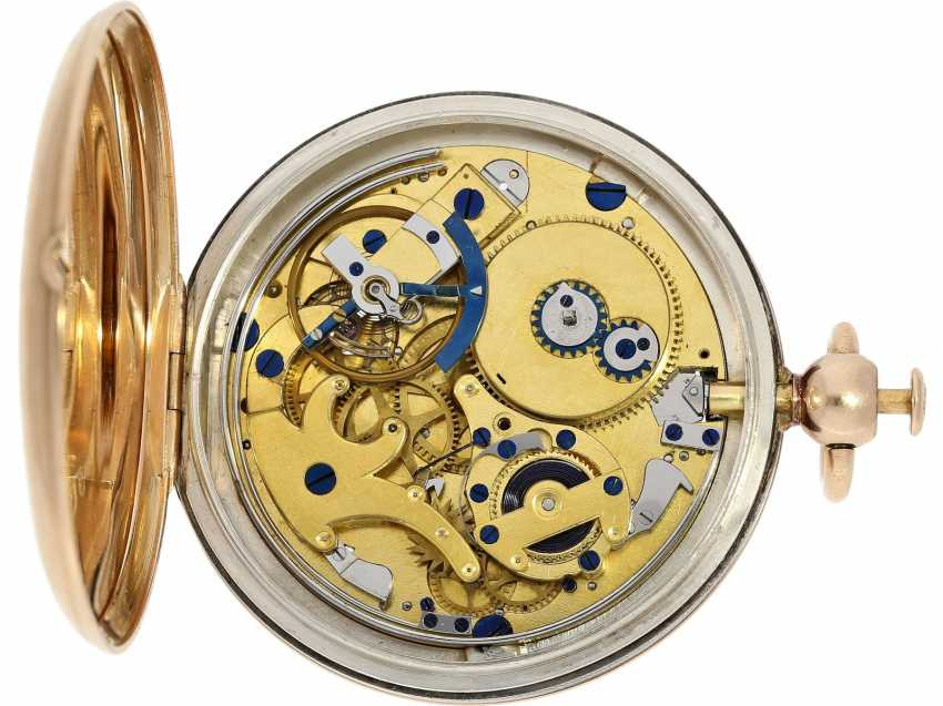 Pocket watch: very fine Breguet repeater watch with a very rare caliber, exceptional rose gold watch case and a secret signature, No. 3457, sold at 23. In March 1820 he wrote to Monsieur Jouli Limendeux, with Breguet certificate - photo 9