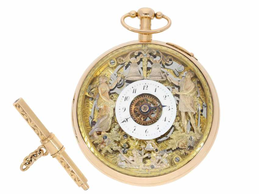Pocket watch: important, skeletonized percussion pocket watch with Carillon-percussion and 4 machines, including hidden erotic automaton, Switzerland around 1820 - photo 1