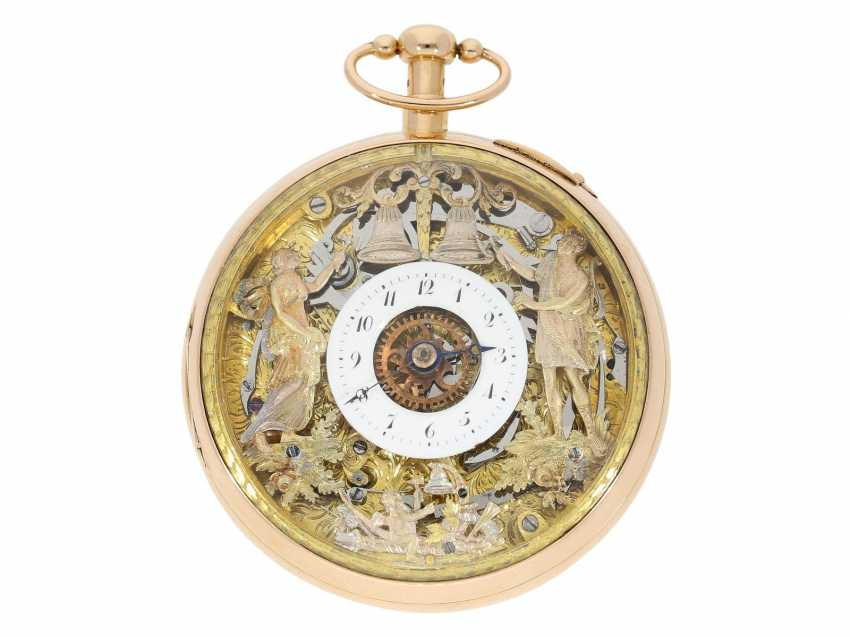 Pocket watch: important, skeletonized percussion pocket watch with Carillon-percussion and 4 machines, including hidden erotic automaton, Switzerland around 1820 - photo 2