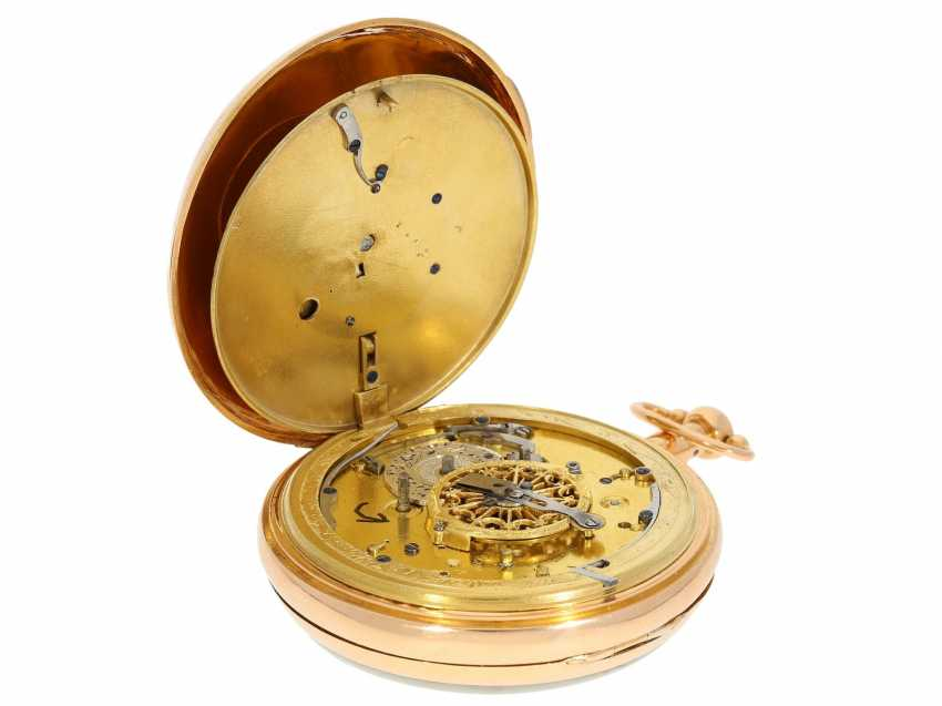 Pocket watch: important, skeletonized percussion pocket watch with Carillon-percussion and 4 machines, including hidden erotic automaton, Switzerland around 1820 - photo 7