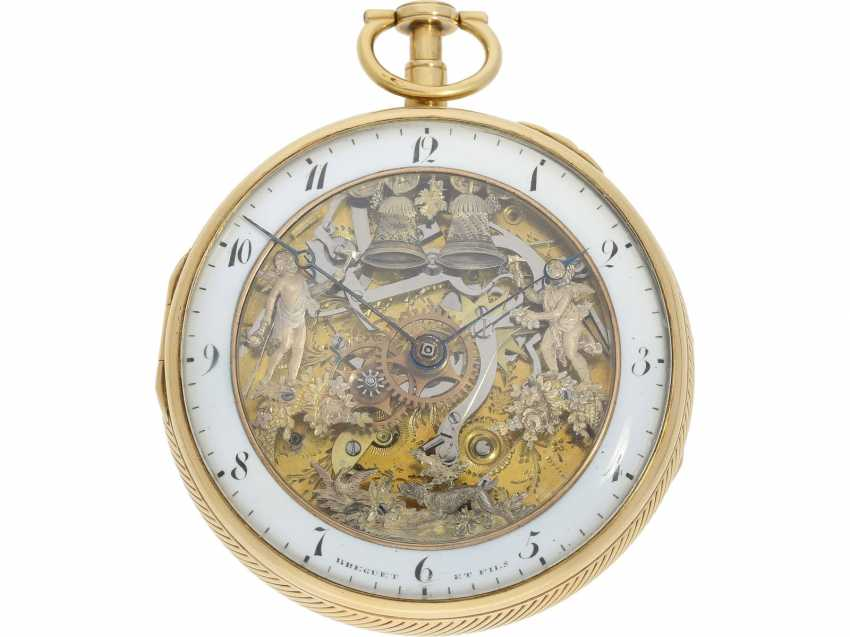 Pocket watch: figure automaton Jacquemart of particularly high-quality execution, and the Museum state of preservation, signed Breguet et Fils, Paris, CA. 1820 - photo 1