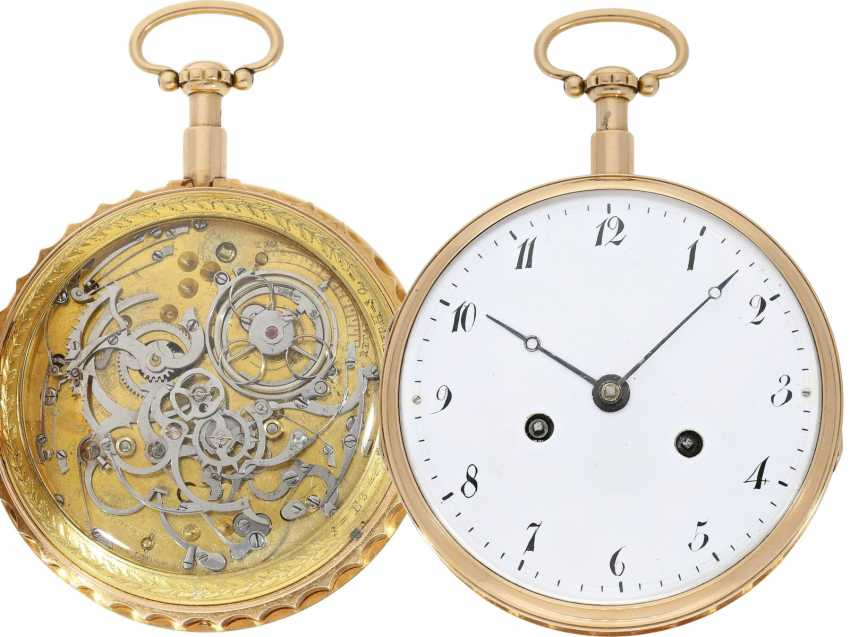 Pocket watch: extremely heavy and extremely high-quality 18K Gold Grande Sonnerie clock watch, Meuron et Comp. Geneve No. 11089, CA. 1820 - photo 1
