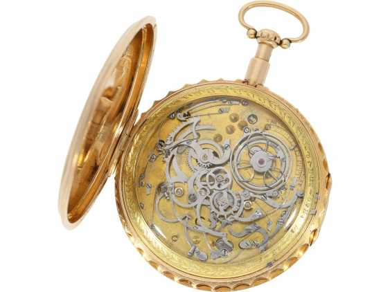 Pocket watch: extremely heavy and extremely high-quality 18K Gold Grande Sonnerie clock watch, Meuron et Comp. Geneve No. 11089, CA. 1820 - photo 4