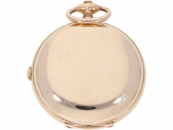 "Pocket watch: technical rarity, heavy, early gold-Savonnette with ""Grande Sonnerie"" and Repetition, extremely rare, high-fine caliber, probably Geneva CA. 1820 - photo 2"