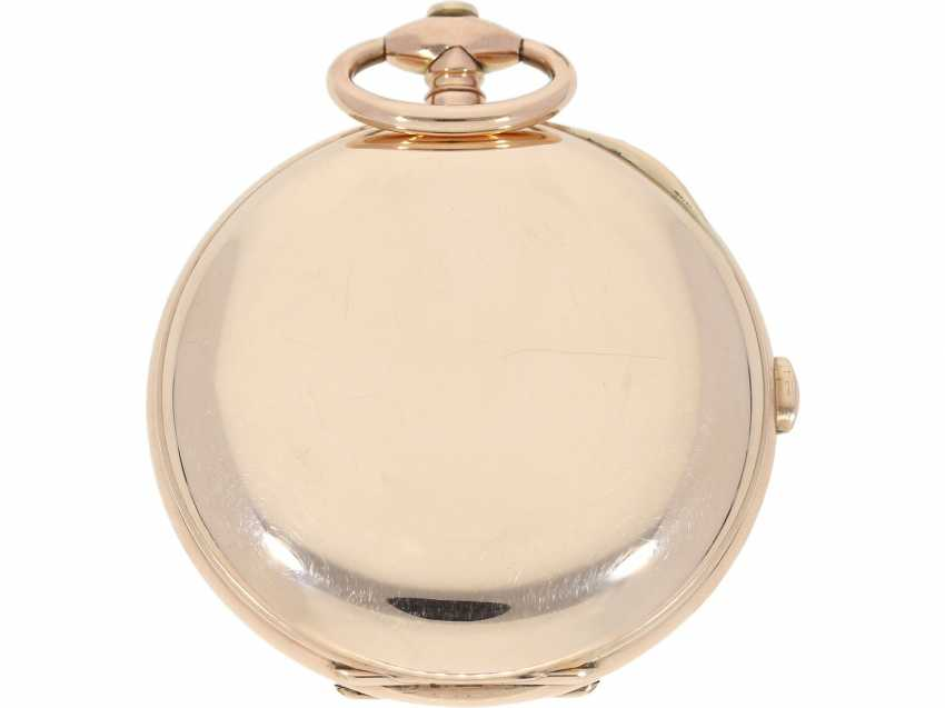 "Pocket watch: technical rarity, heavy, early gold-Savonnette with ""Grande Sonnerie"" and Repetition, extremely rare, high-fine caliber, probably Geneva CA. 1820 - photo 3"