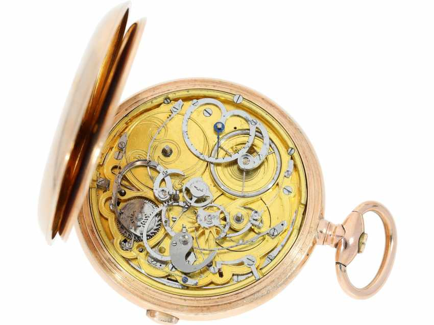 "Pocket watch: technical rarity, heavy, early gold-Savonnette with ""Grande Sonnerie"" and Repetition, extremely rare, high-fine caliber, probably Geneva CA. 1820 - photo 4"